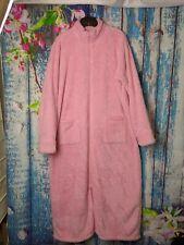 LL BEAN Womens bathrobe ROBE Long full Zip Front pink fluffy with Pockets...