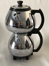 Vintage Art Deco Coffee Maker SUNBEAM Double Bubble Chrome 3 Part No Cord/Basket