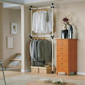 DIY Adjustable Telescopic Wardrobe Organiser Hanging Rail Clothes Rack Storage