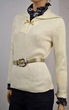 Ralph Lauren Cream Collared Sweater/W Buckle -Large- NWT