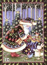 Mary Engelbreit-Santa Claus Sack Of Toys Bird Elf Bunny-Christmas Card-New!