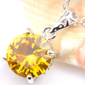 Simple Design Round Cut Golden Citrine Gemstone Silver Woman Necklace Pendants