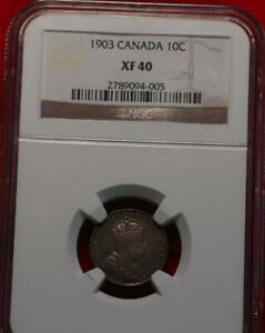 1903 Canada 10 Cents Silver Foreign Coin NGC Graded XF 40