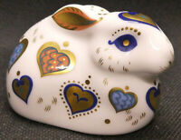 """Royal Crown Derby """"For You Rabbit"""" 2010 Paperweight with Gold button"""