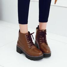 Womens Ankle Boots Punk Lace-Up Chunky Block Mid Heel Shoes Motorcycle Booties