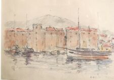 """Georges RICARD-CORDINGLEY (1873-1939). """" Port"""". Dessin crayons coul.v 226"""