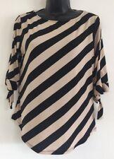 NEW Ex Debenhams Black Beige Stripe Formal Casual Work Blouse Top Size 10-16