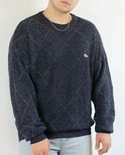 Lacoste Mens Vintage Sweater Pullover Wool Blend Blue Gray Size L