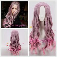 75cm  Long Curly Wavy Hair Taro Fade Pink Fashion Wig No Bangs+ a wig cap