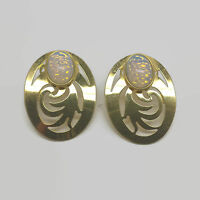 Steve Stamas Gold Tone Glass Cabochon Cut Out Pierced Metal Earrings