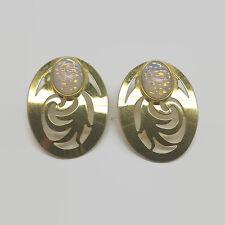 Steve Stamas Gold Tone Glass Cabochon Cut Out Pierced Metal Earrings