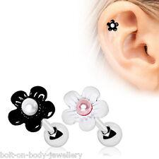 Pearl Daisy Tragus / Cartilage / Helix Bar - Ear Stud ~6mm x 1.2mm