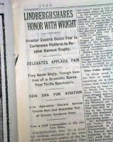CHARLES A. LINDBERGH Receives Harmon Trophy w/ Orville Wright 1928 Old Newspaper