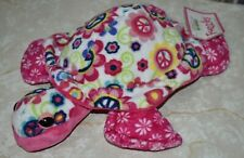 """Douglas The Cuddle Toy Fuzzles Turtle Plush Toy Pink Peace Signs & Flowers 11"""""""