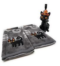 Halloween 2 Gray Cat Hand Towels and 1 Witch Cat Soap Dispenser - NEW