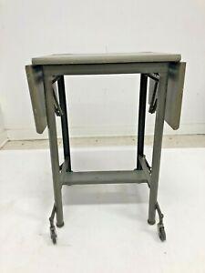 Vintage INDUSTRIAL TYPEWRITER TABLE drop leaf metal mid century wood stand desk