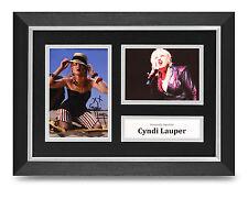 Cyndi Lauper Signed A4 Photo Framed Display Music Memorabilia Autograph +COA