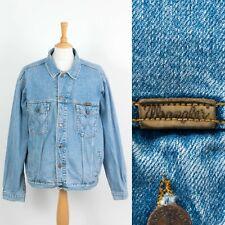 Uomo Vintage Wrangler Jeans Giacca Blu Stile Camionista USA Rockabilly XXL 2XL