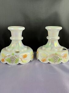 Westmoreland Mother of Pearl Carnival Glass Painted Paneled Grape Candlesticks-2