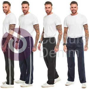 Mens Tracksuit Bottoms Silky Casual Joggers Gym Jogging Pants Plain & Stripe Jog