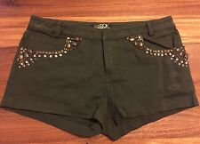 NEW LaROK LUXE Boot Camp Army Green Stud Embellished Hot Shorts Sz 0 $225