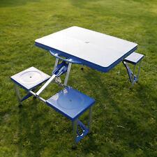 Portable Folding Picnic Camping Table frame 4 Seats Outdoor Garden Blue