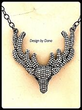 Pave Diamond-Deer-Wings-Antler-Pendent-Necklace-Cowboy-Jewelry-Western Jewelry