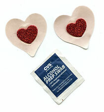NIPPLE COVER 3D Small Red Glitter Heart on Small Nude/Beige Heart 1 pair pasties