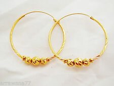 22K 23K THAI YELLOW GOLD GP HOOP EARRINGS JEWELRY NEW E 160
