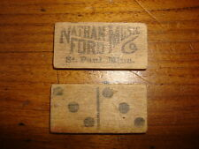 *2* Early NATHAN FORD MUSIC CO. WOOD CARDS St. Paul, MN Domino