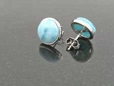 Wholsale 6 Pairs Natural  Dominican 8mm Larimar 925 Sterling Silver Earrings