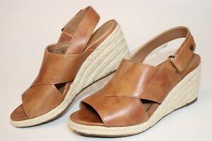 Vionic Womens 7 38 Zamar Leather Wedge Espadrille Sandals Comfort Shoes VS390