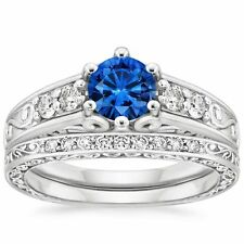 2.20 Round Blue Sapphire Diamond Engagement Ring Wedding Band 14k White Gold