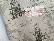 Antique Vintage Map print 100% cotton poplin fabric **Nautical Ocean Boat Ship**