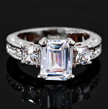 18k White Gold Plated Crystal Wedding Engagement Ring Size 10 R27