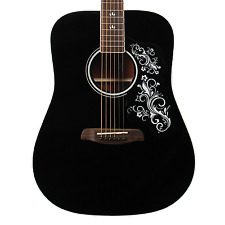 Sawtooth Black Acoustic Dreadnought Guitar with Custom Pickguard & White Graphic