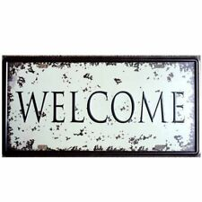 Welcome Open Tin Sign Wall Painting Plaque Vintage Hanging signs Cafe Home Decor