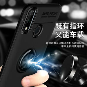 For Huawei Y8s, 3in1 Shockproof Rugged Armor Metal Ring Car Holder Case +glass