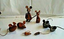 8 Kay Bojesen?Zoo Line 1950 Mid-Century Modern Teak Wood Mice w/Leather Ear&Tail
