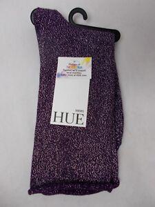 Hue Women's Metallic Roll-Top Socks Eggplant with Silver Metallic One Size