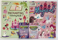 Enchanting & Magic Jumbo Coloring Activity Books Glitter Pearl Crayons Unicorns