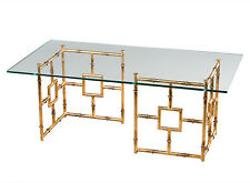 """""""BAMBOO GROVE"""" GLASS TOP COFFEE TABLE - COCTAIL TABLE - ANTIQUE GOLD FINISH"""