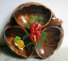 Hawaiian Souvenir Wooden Monkey Pod Salad Bowl Set New Vintage Set Collectible