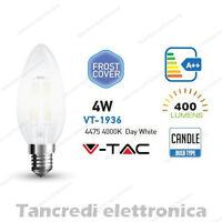 Lampadina led VTAC 4W E14 bianco naturale 4000K VT-1936 candela bianca filamento