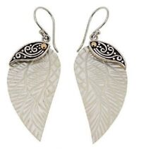 Design Carved Wing Drop Earrings Mother-Of-Pearl 18kt Gold/Sterling Silver Bali