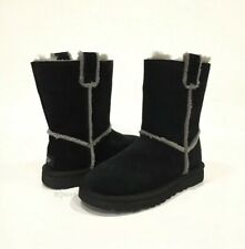UGG CLASSIC SHORT SPILL SEAM BOOTS BLACK SUEDE / SHEEPSKIN -US SIZE 6 -NEW