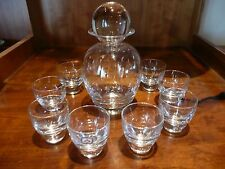 LEERDAM Crystal Decanter Set, Crystal Ball lid, 8 glasses, Made in Holland