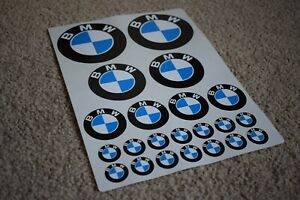 BMW Round Racing Motorcycle Bike Car Helmet Boot Decal Stickers Badge Black