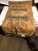Vintage Advertising South Africa Coal Oil Gas Paraflint Sasolwaks Burlap Bag
