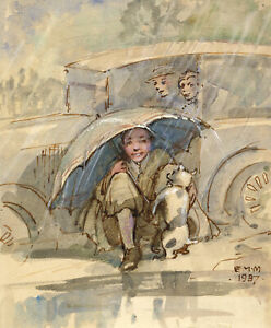 Ethel M. Mallinson, Sheltering from the Rain – 1937 watercolour painting